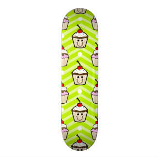Happy Cupcakes on Neon Green Chevron Stripes Skate Board Deck