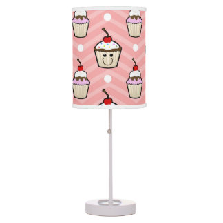 Happy Cupcakes on Pink Chevron Stripes Desk Lamp