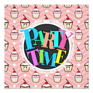 Happy Cupcakes on Pink Chevron Stripes 5.25x5.25 Square Paper Invitation Card