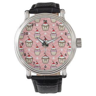 Happy Cupcakes on Pink Chevron Stripes Wristwatch