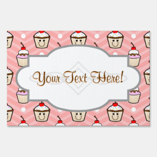 Happy Cupcakes on Pink Chevron Stripes Yard Sign
