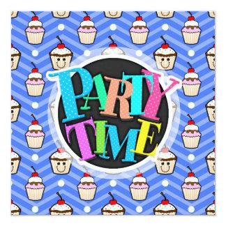Happy Cupcakes on Purple Chevron Stripes 5.25x5.25 Square Paper Invitation Card
