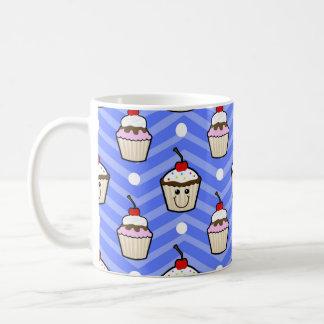 Happy Cupcakes on Purple Chevron Stripes Mugs