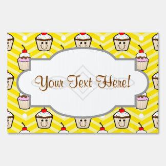 Happy Cupcakes on Yellow Chevron Stripes Yard Signs