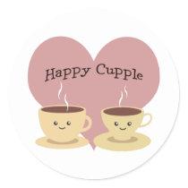 Happy Cupple! Cute Coffee Classic Round Sticker
