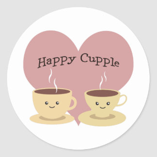 Happy Cupple! Cute Coffee Classic Round Sticker