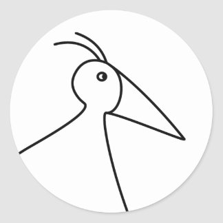 happy-curious-busy: the basic RUNNY-bird Classic Round Sticker