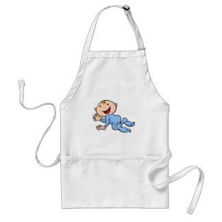 Happy cute baby crawling and waving aprons