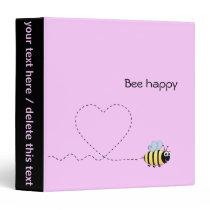 Happy cute bee cartoon pun pink binder