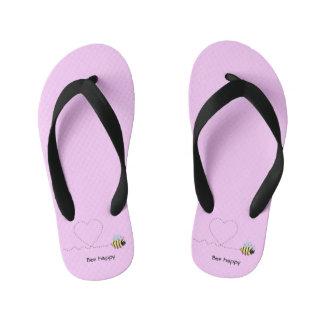 Happy cute bee cartoon pun pink girls kid's flip flops