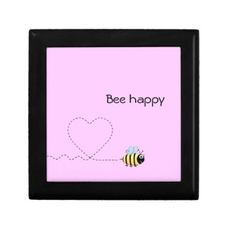 Happy cute bee cartoon pun pink keepsake box