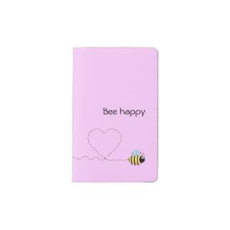 Happy cute bee cartoon pun pink pocket moleskine notebook