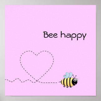Happy cute bee cartoon pun pink poster