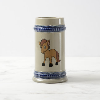 Happy Cute Brown Foal Little Horse Pony Colt Beer Stein
