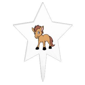 Happy Cute Brown Foal Little Horse Pony Colt Cake Picks