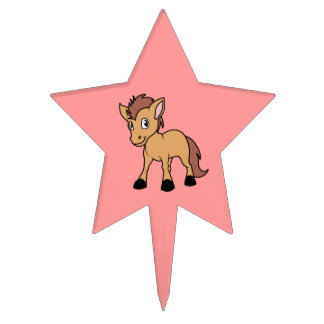 Happy Cute Brown Foal Little Horse Pony Colt Cake Pick