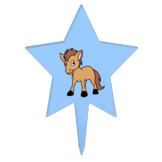 Happy Cute Brown Foal Little Horse Pony Colt Cake Topper