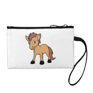 Happy Cute Brown Foal Little Horse Pony Colt Coin Purse