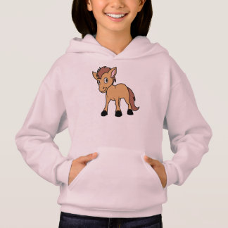 Happy Cute Brown Foal Little Horse Pony Colt Hoodie