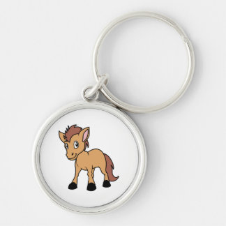 Happy Cute Brown Foal Little Horse Pony Colt Silver-Colored Round Keychain