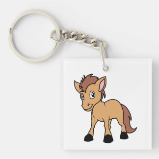 Happy Cute Brown Foal Little Horse Pony Colt Double-Sided Square Acrylic Keychain