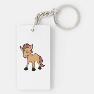 Happy Cute Brown Foal Little Horse Pony Colt Double-Sided Rectangular Acrylic Keychain