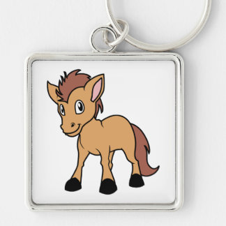 Happy Cute Brown Foal Little Horse Pony Colt Silver-Colored Square Keychain