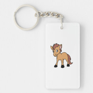Happy Cute Brown Foal Little Horse Pony Colt Single-Sided Rectangular Acrylic Keychain