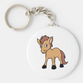 Happy Cute Brown Foal Little Horse Pony Colt Basic Round Button Keychain