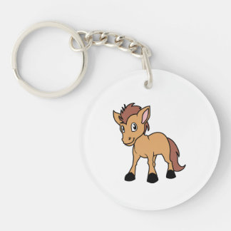 Happy Cute Brown Foal Little Horse Pony Colt Double-Sided Round Acrylic Keychain
