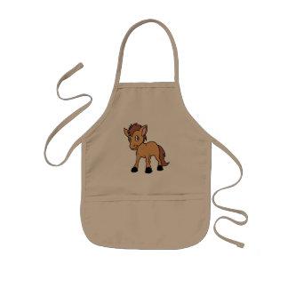 Happy Cute Brown Foal Little Horse Pony Colt Kids' Apron
