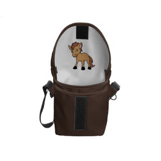 Happy Cute Brown Foal Little Horse Pony Colt Messenger Bag