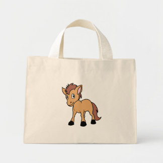 Happy Cute Brown Foal Little Horse Pony Colt Mini Tote Bag
