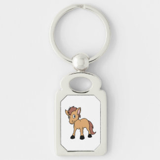 Happy Cute Brown Foal Little Horse Pony Colt Silver-Colored Rectangle Keychain