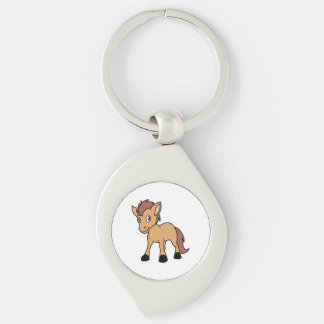 Happy Cute Brown Foal Little Horse Pony Colt Silver-Colored Swirl Keychain