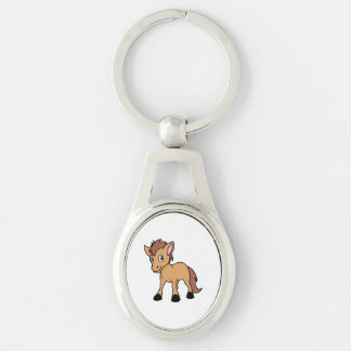 Happy Cute Brown Foal Little Horse Pony Colt Silver-Colored Oval Keychain
