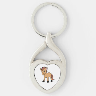 Happy Cute Brown Foal Little Horse Pony Colt Silver-Colored Twisted Heart Keychain