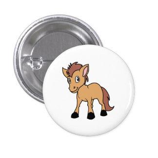 Happy Cute Brown Foal Little Horse Pony Colt Pinback Button