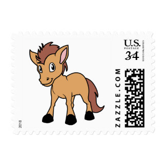 Happy Cute Brown Foal Little Horse Pony Colt Postage Stamp