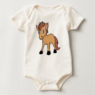 Happy Cute Brown Foal Little Horse Pony Colt Romper