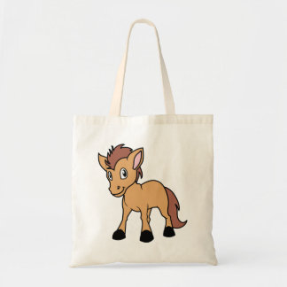 Happy Cute Brown Foal Little Horse Pony Colt Tote Bag