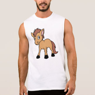 Happy Cute Brown Foal Little Horse Pony Colt Sleeveless T-shirt