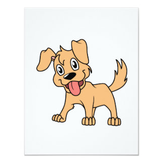 Happy Cute Brown Puppy Dog Tongue Out Card