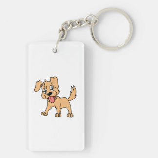 Happy Cute Brown Puppy Dog Tongue Out Double-Sided Rectangular Acrylic Keychain