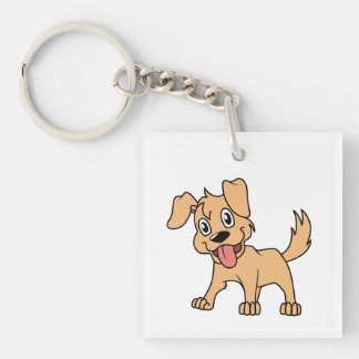 Happy Cute Brown Puppy Dog Tongue Out Double-Sided Square Acrylic Keychain