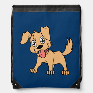 Happy Cute Brown Puppy Dog Tongue Out Drawstring Bag