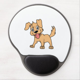 Happy Cute Brown Puppy Dog Tongue Out Gel Mouse Pad