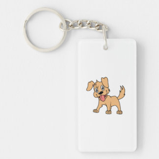 Happy Cute Brown Puppy Dog Tongue Out Acrylic Key Chains