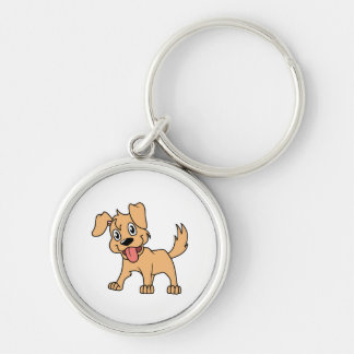 Happy Cute Brown Puppy Dog Tongue Out Keychains