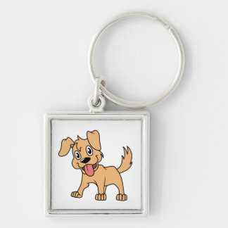 Happy Cute Brown Puppy Dog Tongue Out Key Chain